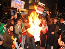 A demonstration at the Israeli embassy in London