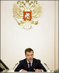 medvedev at his desk